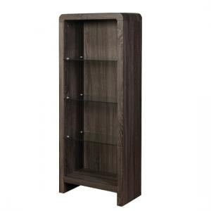 Cannock Wooden Bookcase In Charcoal With 3 Glass Shelf