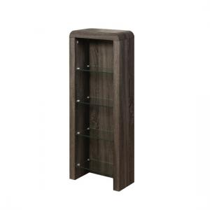 Cannock Wooden CD DVD Storage Unit In Charcoal With 4 Glass Shel