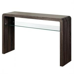 Cannock Large Console Table In Charcoal With 1 Glass Shelf