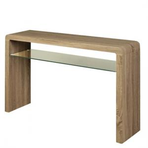 Cannock Large Console Table In Havana Oak With 1 Glass Shelf