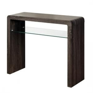 Cannock Medium Console Table In Charcoal With 1 Glass Shelf