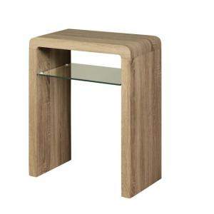 Cannock Small Console Table In Havana Oak With 1 Glass Shelf