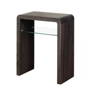 Cannock Small Console Table In Charcoal With 1 Glass Shelf