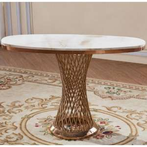 Canora Marble Effect Console Table In White With Rosegold Base