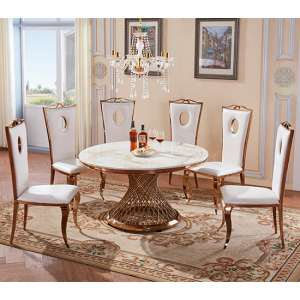 Canora White Marble Dining Set With 6 Chairs