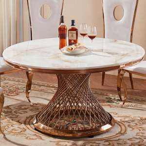 Canora White Marble Dining Table With Rose Gold Legs