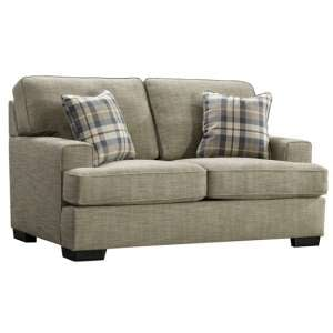 Canterbury Fabric 2 Seater Sofa In Beige With Scatter Cushions