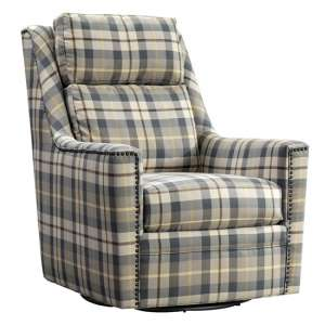 Canterbury Fabric Swivel Chair In Oxford Check