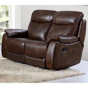Canton Recliner 2 Seater Sofa In Tan Faux Leather