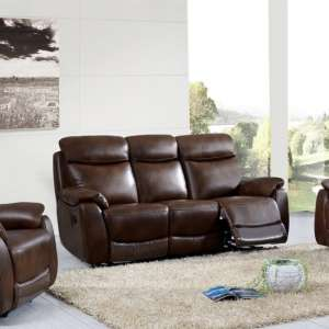 Canton Recliner 3 Seater Sofa In Tan Faux Leather