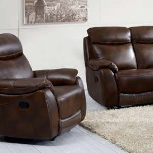Canton Recliner Sofa Chair In Tan Faux Leather