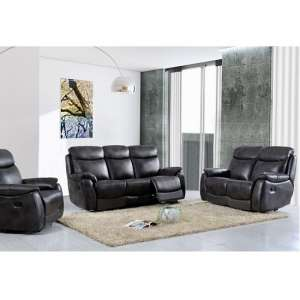 Canton Recliner Sofa Suite In Grey Faux Leather