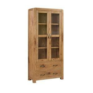 Capre Mirrored Diplay Cabinet In Rustic Oak Finish