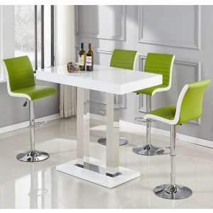 Caprice Bar Table In White High Gloss With 4 Ritz Lime Stools