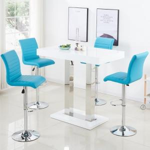 Caprice Bar Table In White Gloss With 4 Ripple Turquoise Stools