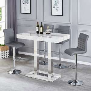 Caprice Magnesia Gloss Effect Bar Table And 4 Ripple Grey Stools