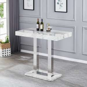 Magnesia Grey High Gloss Marble Effect Bar Table