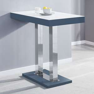 Caprice Grey White Glass Top Bar Table With High Gloss