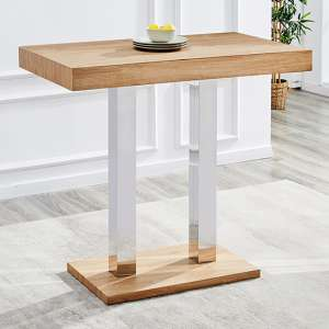 Caprice Wooden Bar Table In Oak With Stainless Steel Legs