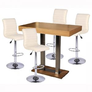 Caprice Bar Table In Oak With 4 Ripple Cream Bar Stools