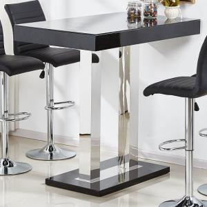 Caprice Glass Bar Table In Black High Gloss And Stainless Steel