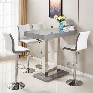 Caprice Glass Bar Table In Grey Gloss With 4 Ritz White Stools
