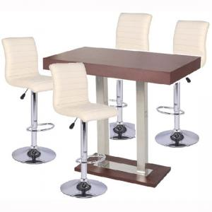 Caprice Bar Table In Wenge With 4 Ripple Cream Bar Stools