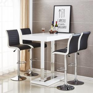 Caprice Bar Table In White High Gloss With 4 Ritz Black Stools