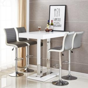 Caprice Bar Table In White High Gloss With 4 Ritz Grey Stools