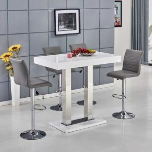Caprice Bar Table In White Gloss With 4 Ripple Grey Bar Stools