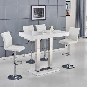 Caprice Bar Table In White High Gloss With 4 Ripple Bar Stools