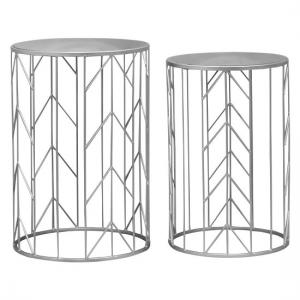 Cara Mirrored Glass Top Set Of 2 Accent Tables In Champagne