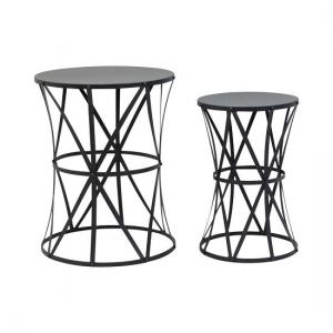 Cara Metal Set Of 2 Accent Tables In Black