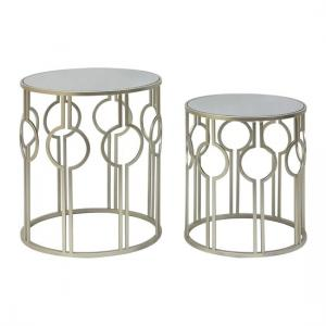 Cara Set Of 2 Accent Tables In Mirrored Glass And Iron