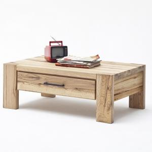 Sussex Coffee Table In Solid Wild Oak With Drawer