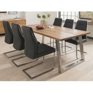 Carey Wooden Dining Table In Oak With 8 Roscoe Charcoal Chairs