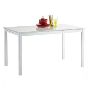 Carey Extendable Glass Dining Table Rectangular In White
