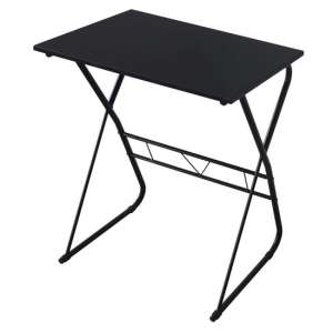 Cargo Wooden Laptop Desk In Black With Metal Frame