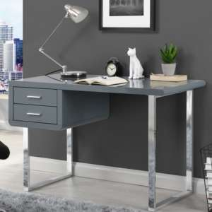 Carlo Computer Desk In High Gloss Grey With Chrome Legs