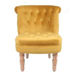 Carlos Boudoir Style Chair In Mustard Fabric With Linen Effect