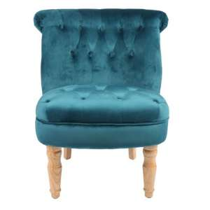 Carlos Boudoir Style Chair In Teal Fabric With Linen Effect