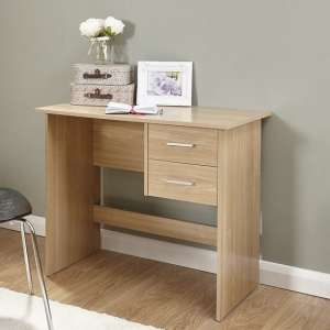 Carlow Wooden Computer Desk In Oak With 2 Drawers