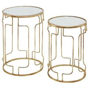 Carlson Mirrored Top 2 Nesting Tables With Gold Frame