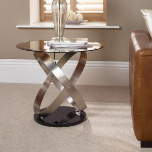 Carmela Glass Lamp Table In Smoke With Satin And Nickel Base