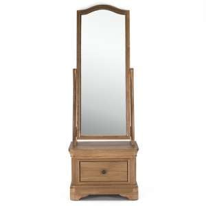 Carmen Cheval Mirror With Wooden Storage In Natural