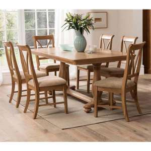 Carmen Extending Wooden Dining Set In Natural With 6 Chairs