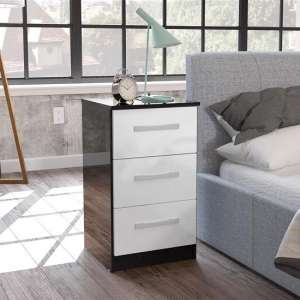 Carola Bedside Cabinet In Black White High Gloss With 3 Drawers