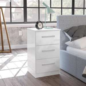 Carola Bedside Cabinet In White High Gloss With 3 Drawers