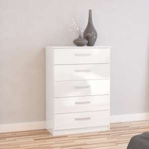 Carola Chest Of Drawers In White High Gloss With 5 Drawers