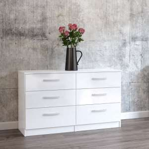 Carola Chest Of Drawers In White High Gloss With 6 Drawers